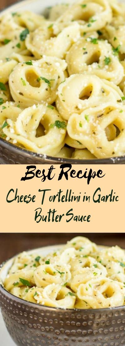 Cheese Tortellini in Garlic Butter Sauce #vegan #recipevegetarian