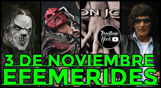 EFEMERIDES ROCK: 3 de Noviembre (VIDEO)
