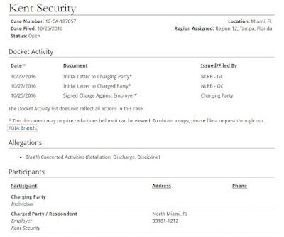 Kent Security Miami accused of labor violation.