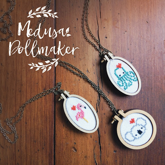 NEW: Crosstich and embroidered necklaces - Medusa Dollmaker