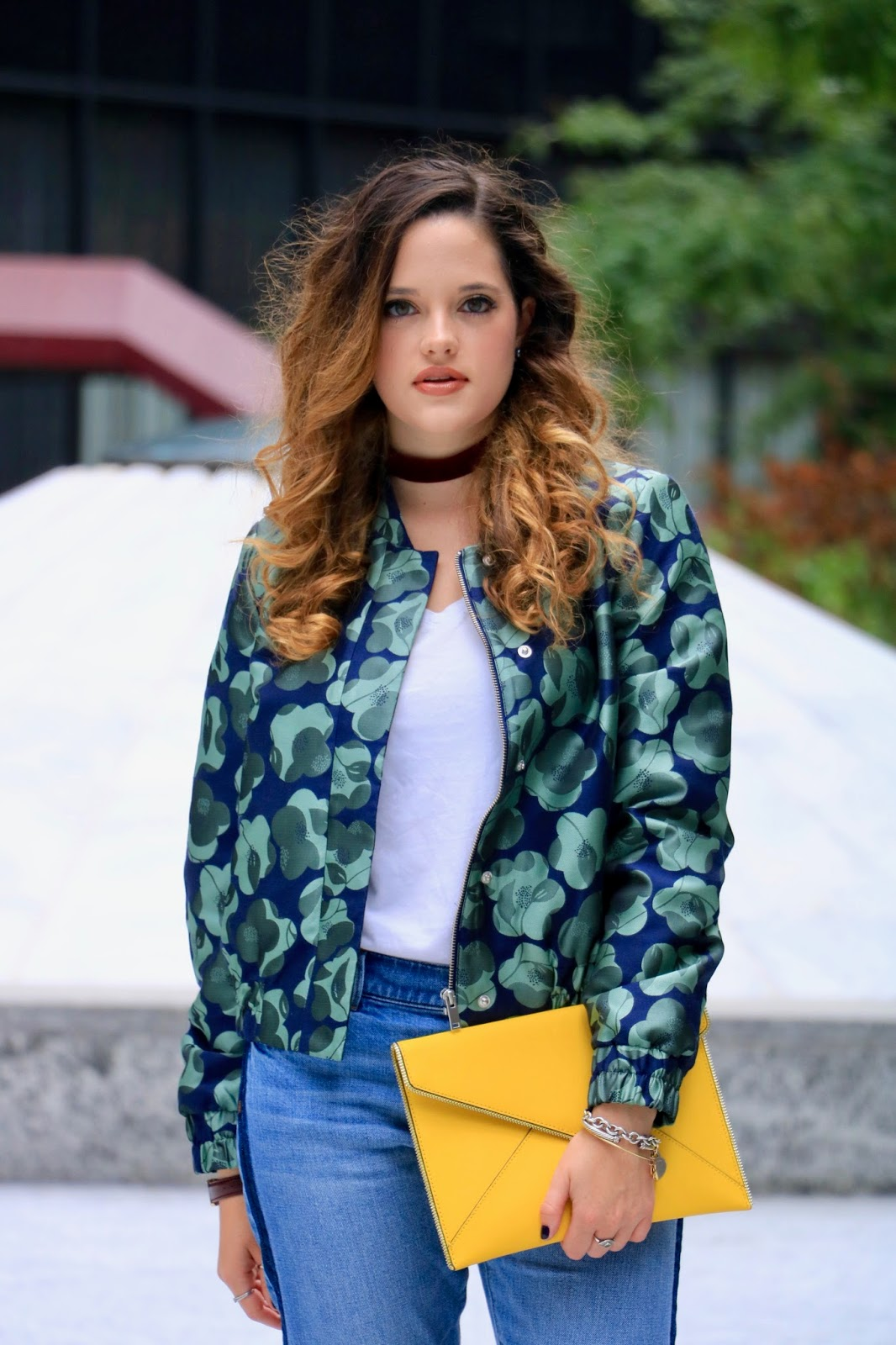 NYC Fashion blogger Kathleen Harper wearing a printed bomber jacket
