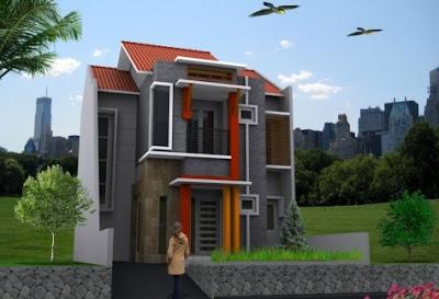 Denah Rumah Minimalis 2 Lantai type 45 Terlengkap