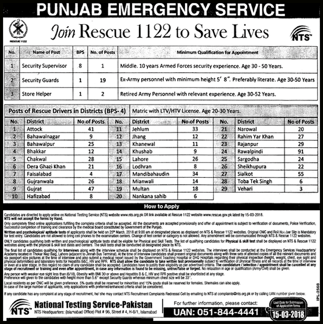 Latest RESCUE Jobs in Pakistan 2018