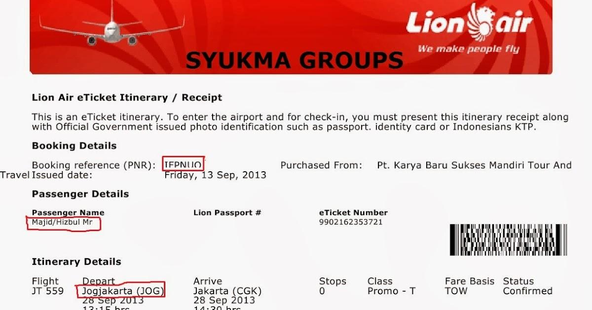 Contoh Tiket Lion Air Oleh Syukma Groups