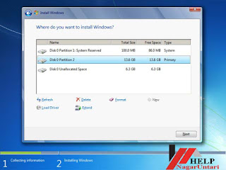 choose partition of hard drive to install window
