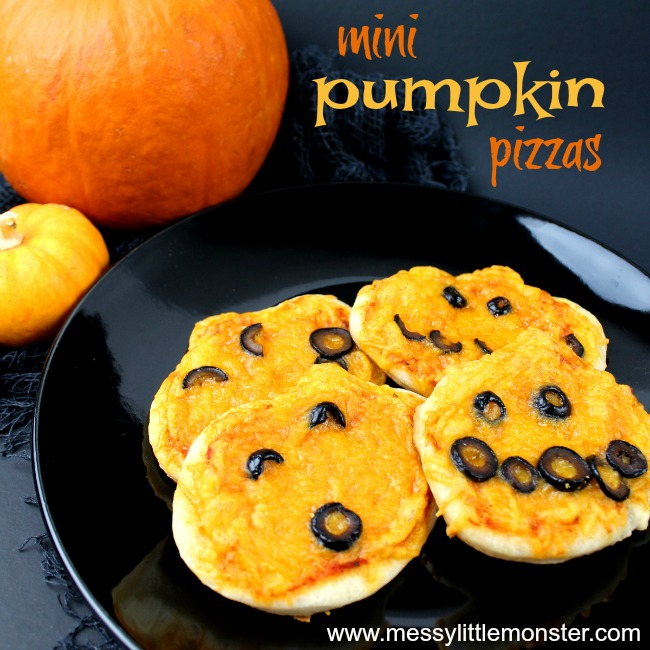 Easy Halloween Treats for Kids - pumpkin mini pizza