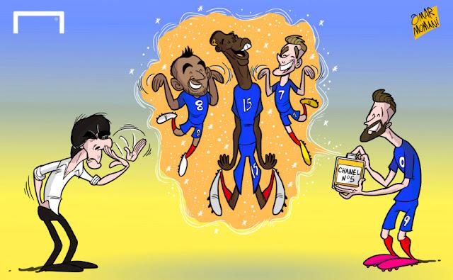 Joachim Loew, Dimitri Payet, Pogba, Antoine Griezmann, Olivier Giroud cartoon