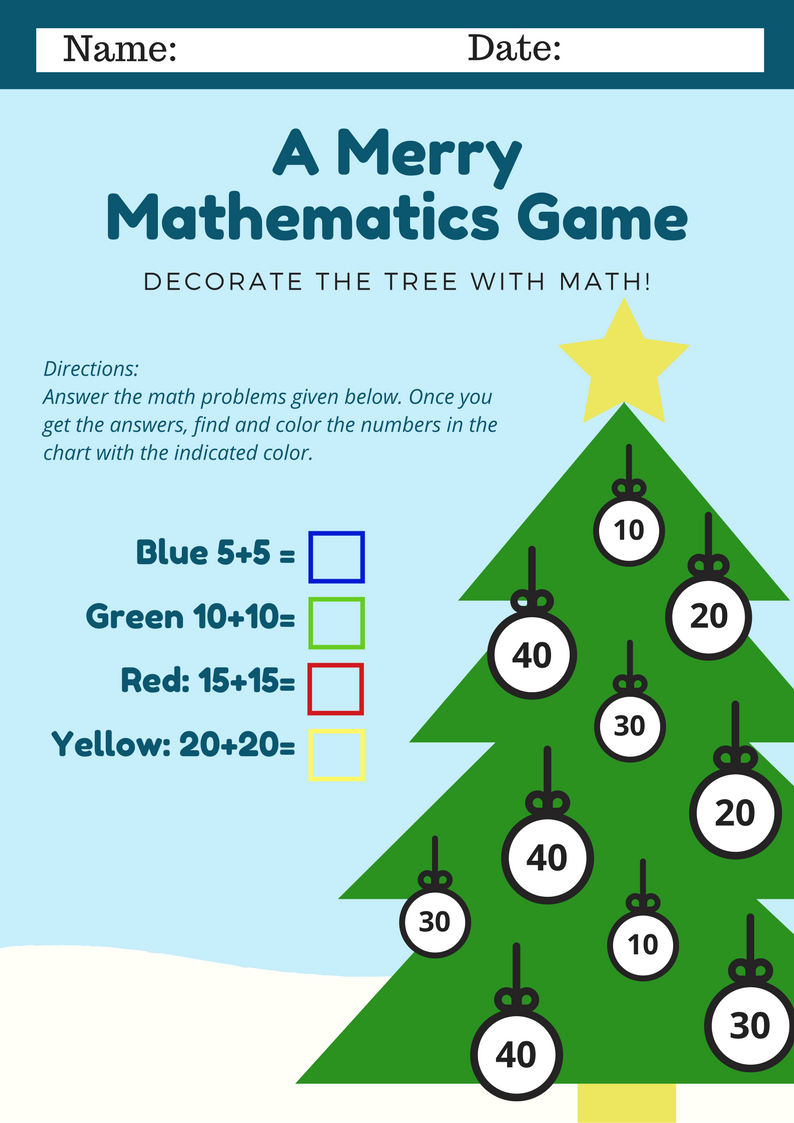 Sweet Silly Sara: Christmas Math Printable