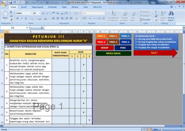 Aplikasi Instrumen PKKS (Penilaian Kinerja Kepala Sekolah) Format Microsoft Excel