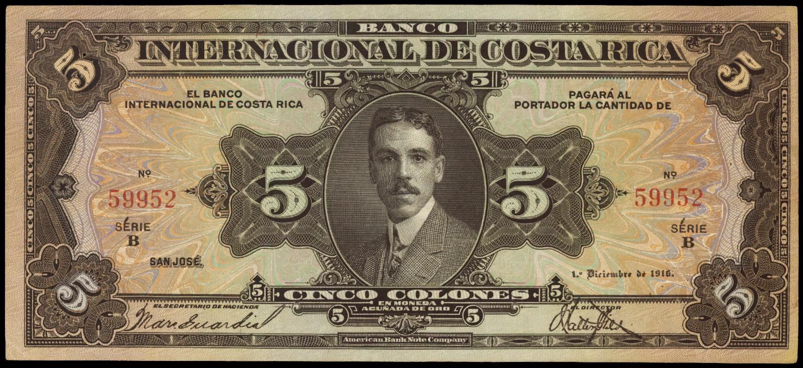 Costa Rica banknotes 5 Colones bank note 1918 President Alfredo González Flores