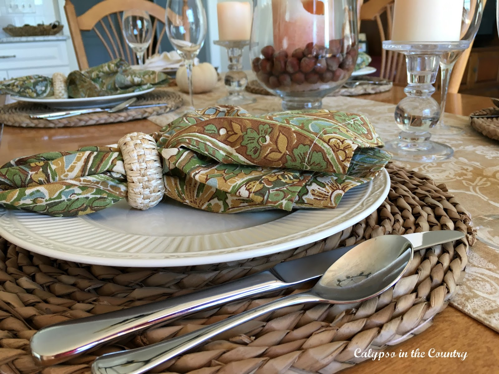 Napkin Close Up - Autumn Table Setting