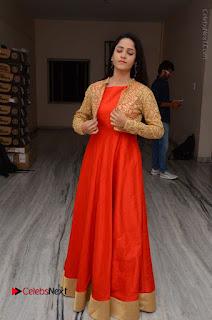 Telugu Actress Divya Nandini Stills in Orange Sleeveless Gown at Chennai Chaitrama Movie le Launch Event  0119.JPG
