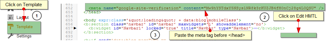 Adding  Google Webmaster Site Verification Code To Blogger