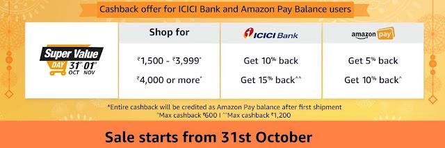 Amazon Super Value Day ₹1200 Cashback on Groceries - 31st Oct - 1st Nov 2018