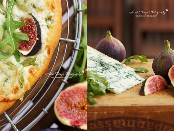 Weiße Pizza mit Gorgonzola, Feigen und Rucola