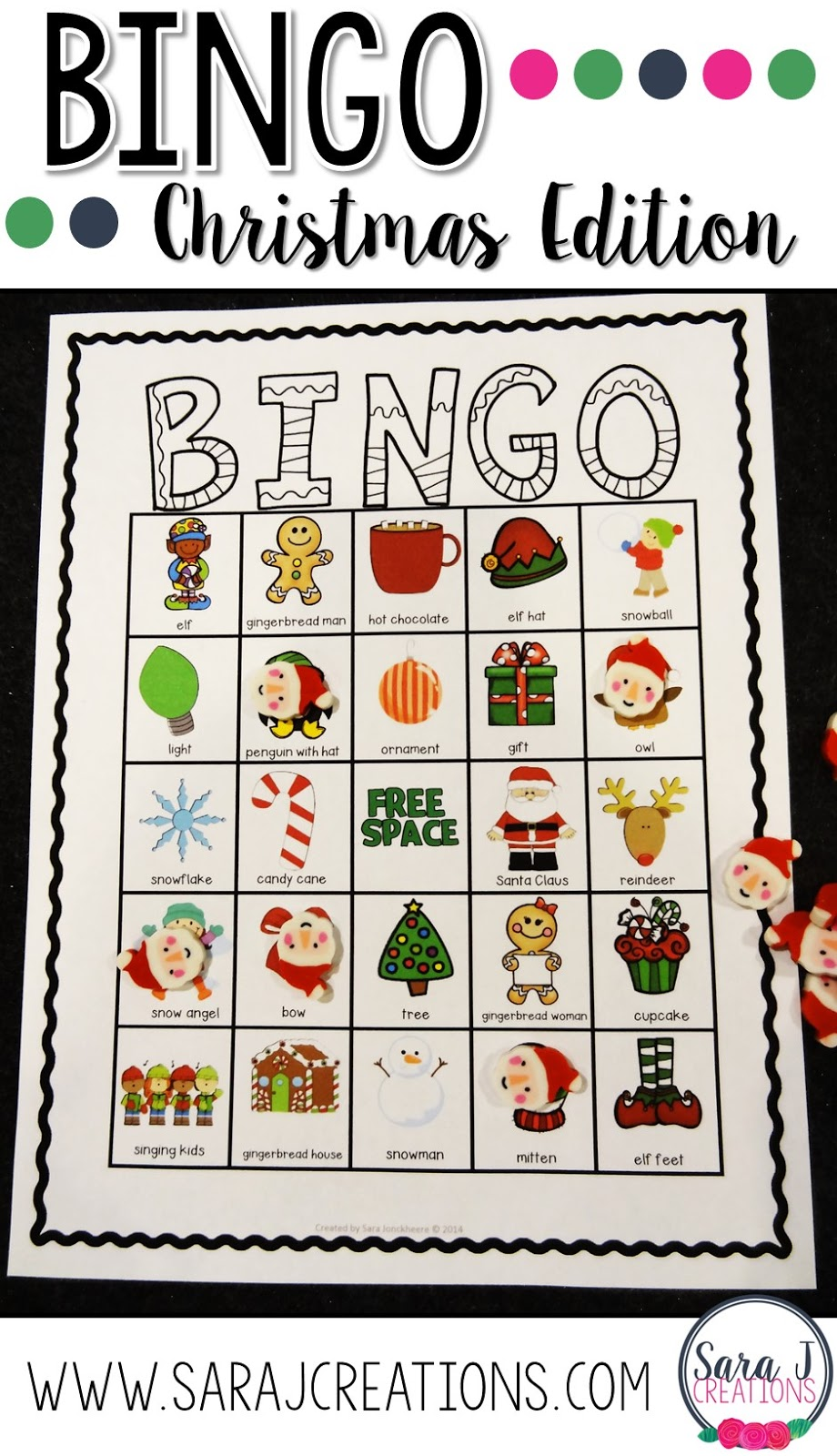 This Christmas bingo game includes 30 different printable cards that make it easy for teachers to print and play with their students.