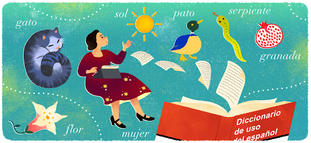 Google Doodle Celebrating Today, María Moliner's 119th Birthday 2019