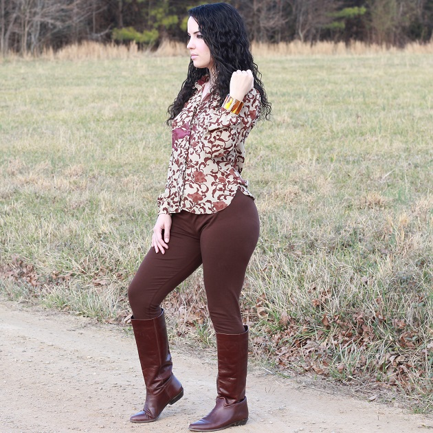 Brown Print Blouse