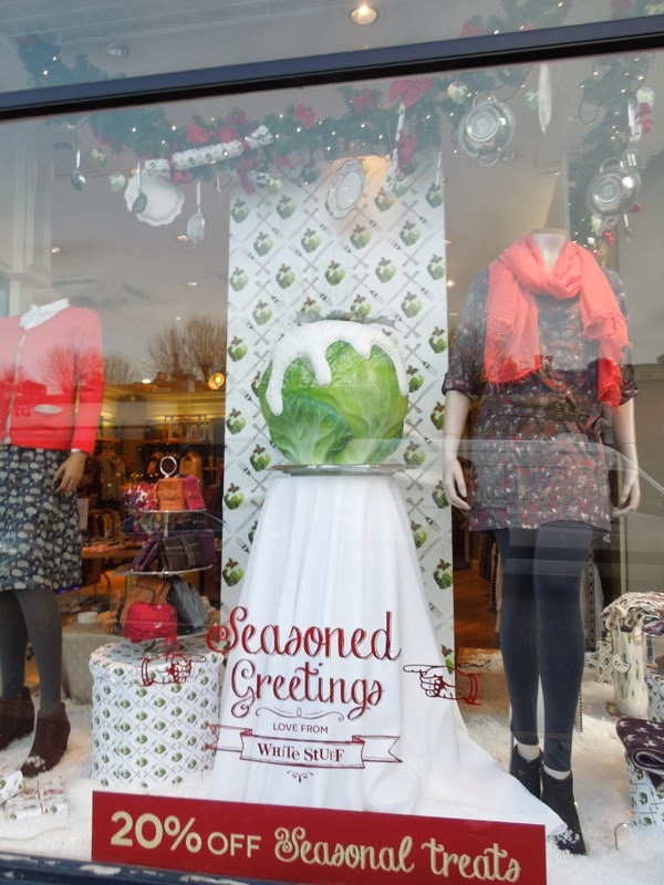 White Stuff giant brussels sprout Christmas window