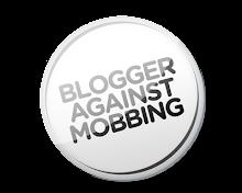 weisser Button fuer Bloggern gegen Mobbing