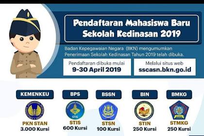 Pendaftaran Mahasiswa Baru Sekolah Kedinasan 2019