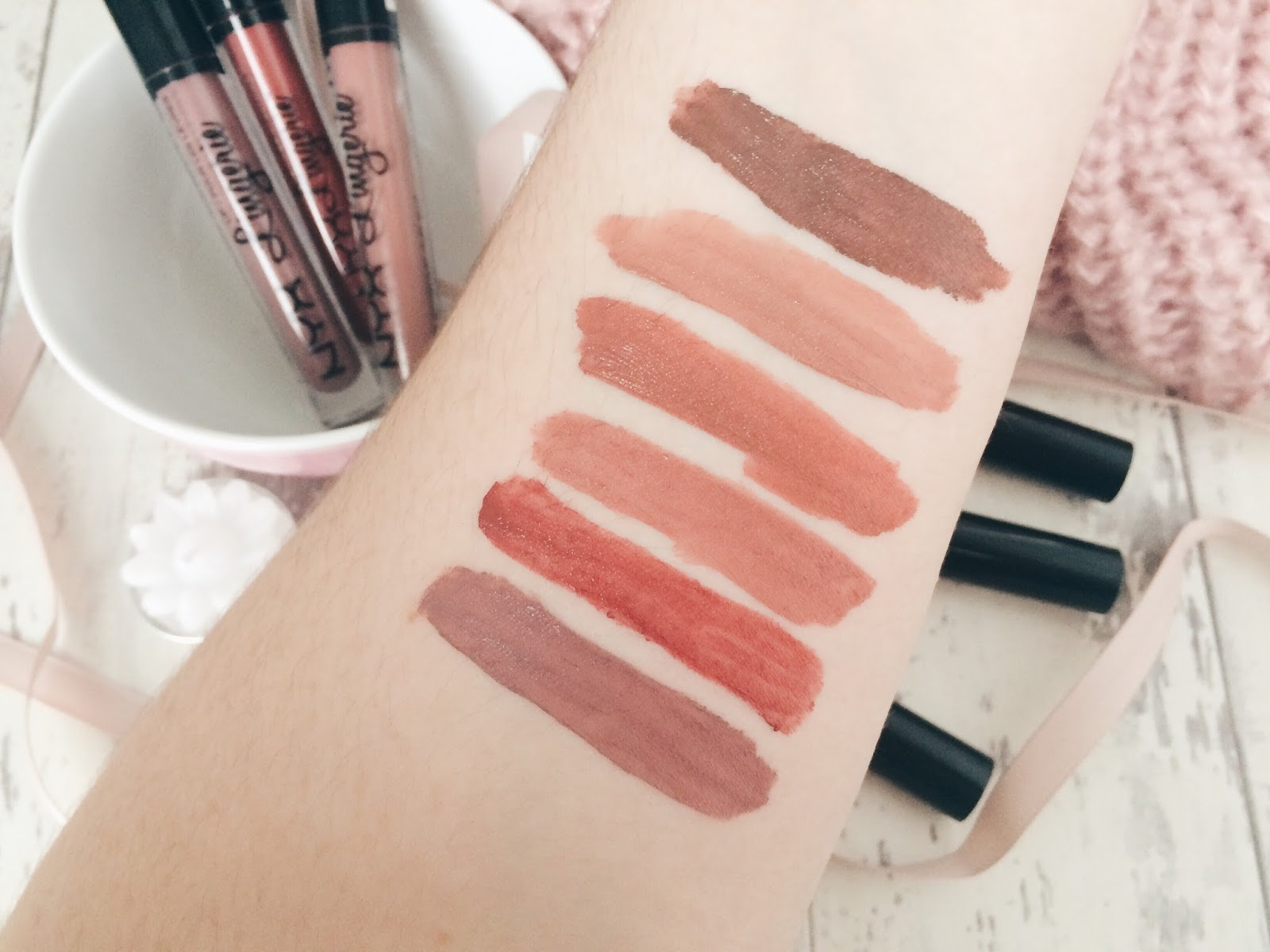Image of NYX Lip Lingerie Liquid Lipstick Swatches