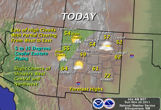 Weather Map New Mexico Quiet Today   Slight Chc For T Storm Monday.