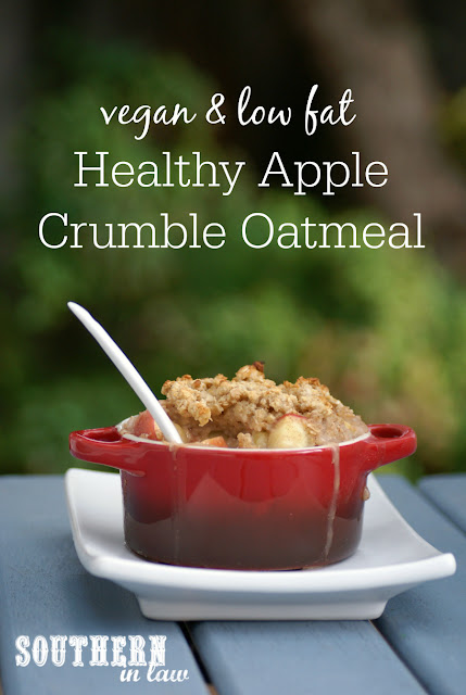Healthy Baked Apple Crumble Oatmeal Recipe - low fat, gluten free, healthy, vegan, egg free, dairy free, clean eating friendly, sugar free breakfast recipes
