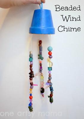 beaded windchime, terracotta pot, painted windchime