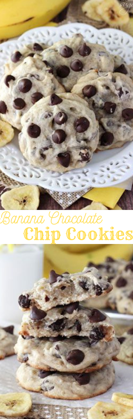 BANANA CHOCOLATE CHIP COOKIES #dessert #cake