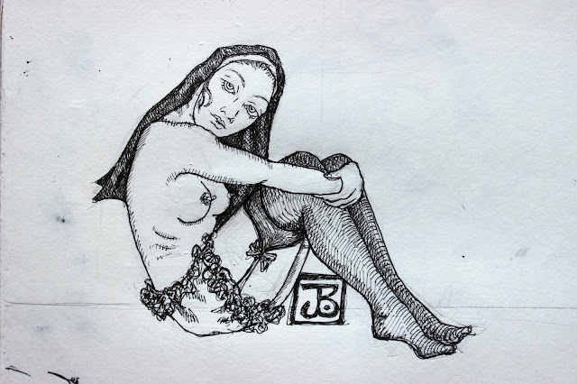 Sketchpad Notebook Sketch Drawing Pencil Pen Nun Nude Knickers Stockings