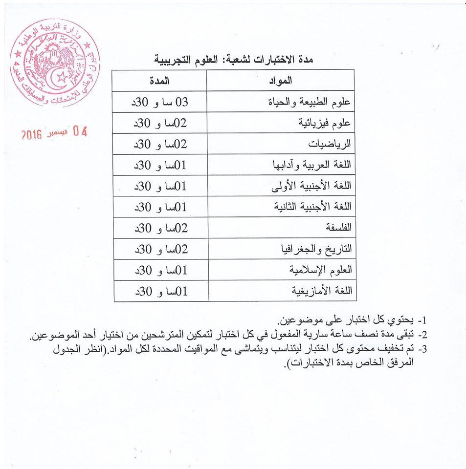 جدول سير اختبارات شهادة البكالوريا علوم تجريبية :