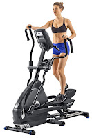 "Nautilus E618 Elliptical Trainer Machine MY18 2018, black color, 30 lb flywheel, 22"" stride length, suspension adjust cushioning system, 29 programs, 25 ECB resistance levels, motorized incline"