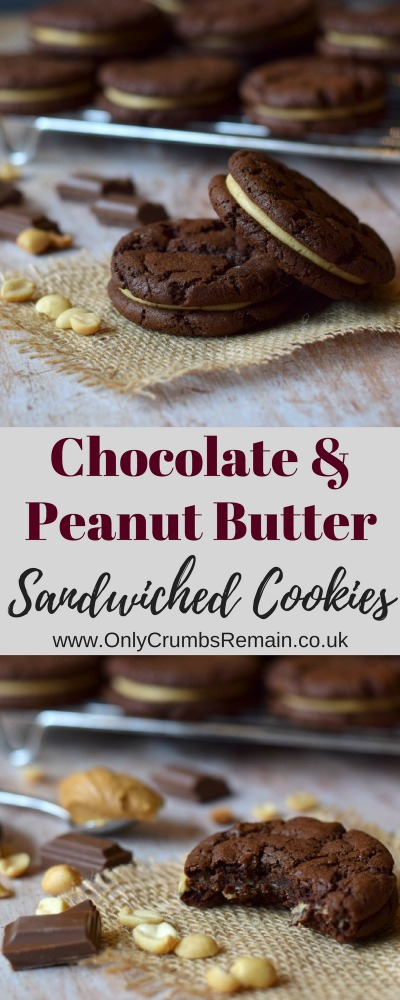 Chocolate and Peanut Butter sandwich cookies, also referred to as double cookiese, made with a generous amount of real chocolate and filled with a frosting with a clear peanut butter flavour.