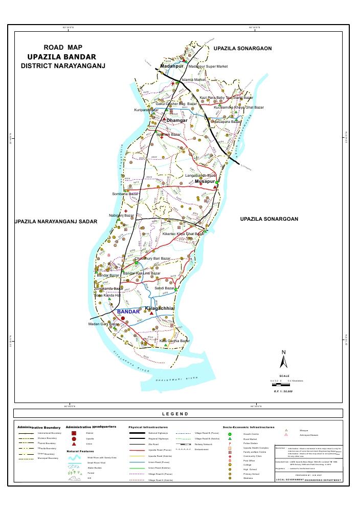 Bandar Upazila Road Map Narayanganj District Bangladesh