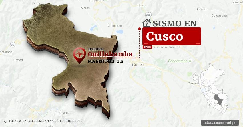 Temblor en Cusco de magnitud 3.5 (Hoy Miércoles 4 Abril 2018) Sismo EPICENTRO Quillabamba - La Convención - IGP - www.igp.gob.pe