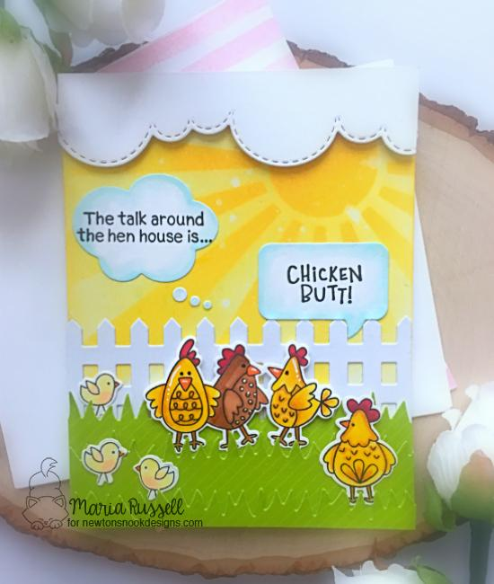 Chicken Card by Maria Russell | Cluck Stamp Set, Fence Die, Land Borders Die Set, Sky Borders Die Set, Speech Bubble Die Set and Sunscape Stencil by Newton's Nook Designs #newtonsnook #handmade