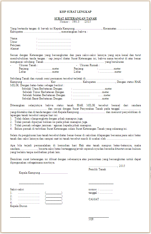 Surat Keterangan Tanah (SKT)