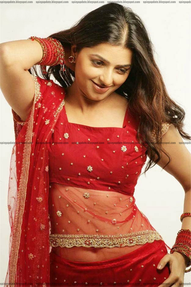 Spicy update bhumika chawla red hot navel in red transparent