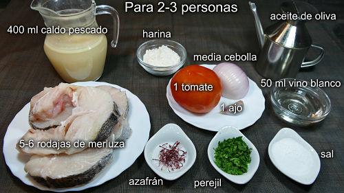 Merluza en salsa de azafrán. Ingredientes