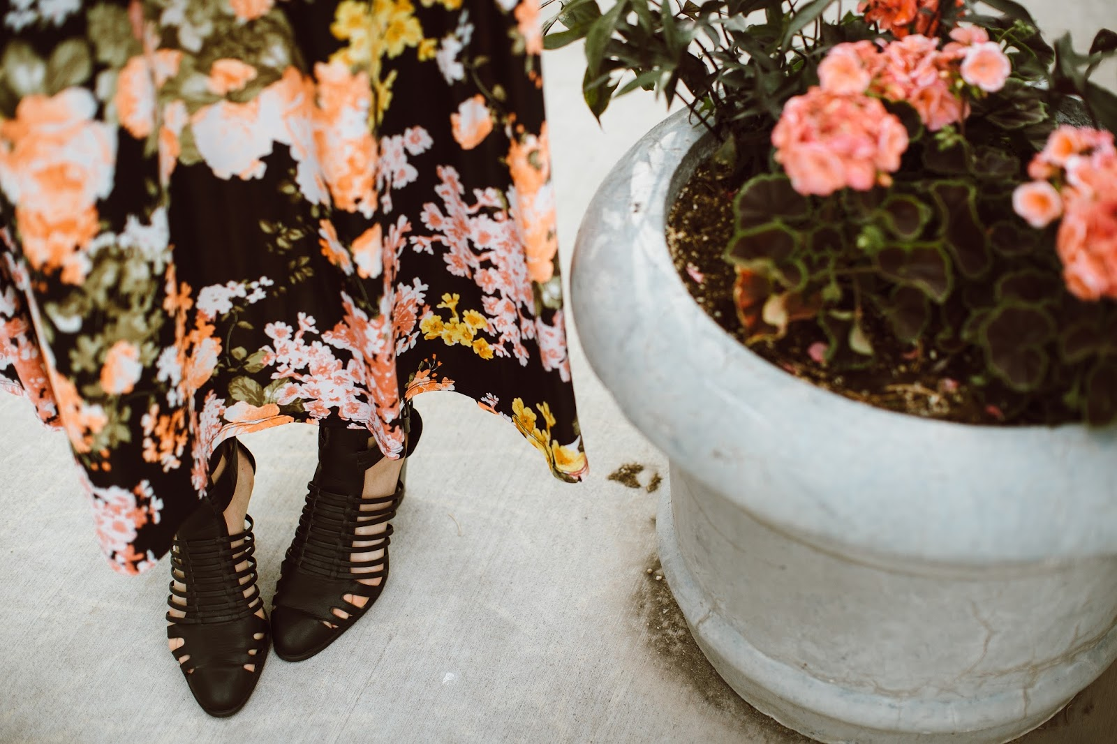 Black Heels, Floral Dress, Shoe Details