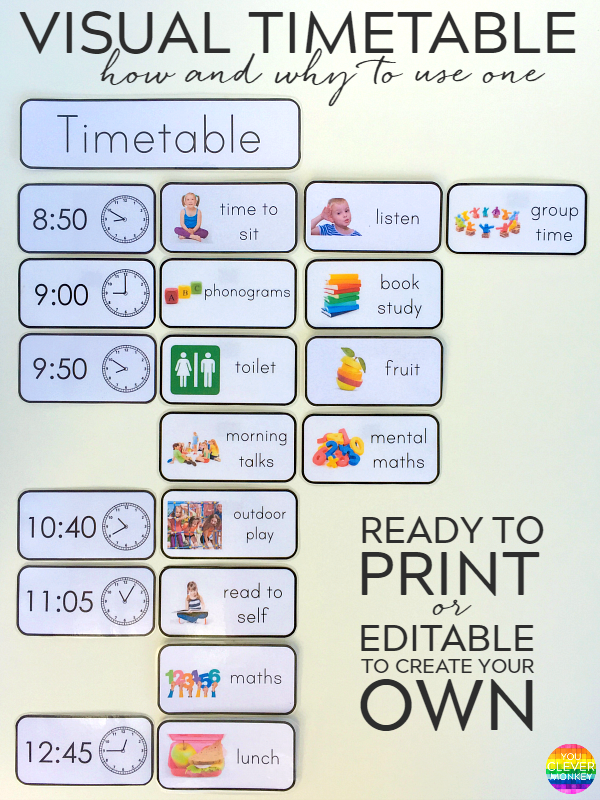 Why and how to use visual timetable effectively you for Preschool classroom schedule template