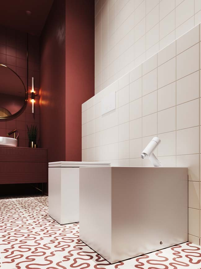 Beautiful bathroom model with red bordeaux