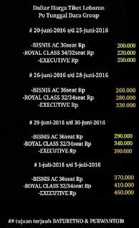 Daftar harga Tarif Tiket PO Tunggal Dara Mudik 2016
