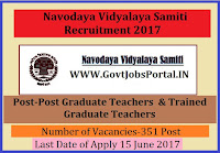 Navodaya Vidyalaya Samiti Recruitment 2017– 351 PGTs, TGTs