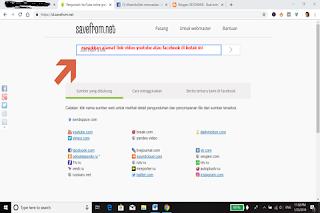 contoh gambar screenshot halaman savefromnet yang harus diisi