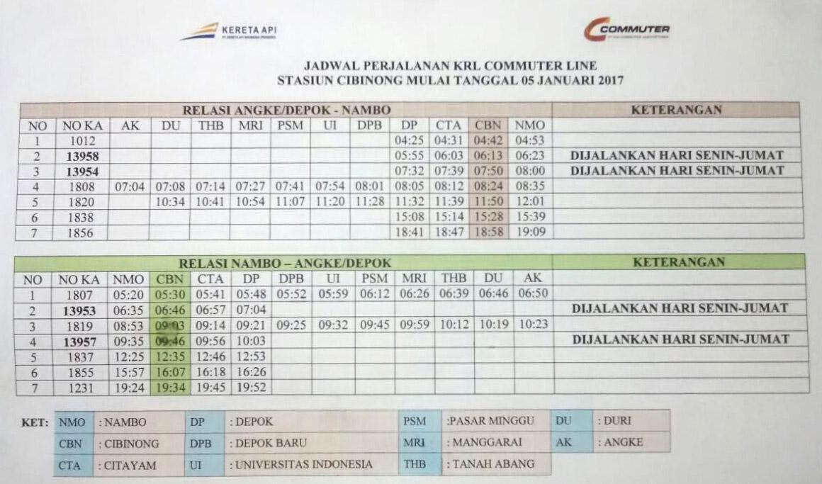 Jadwal KRL Nambo - Cibinong - Citayam - Duri