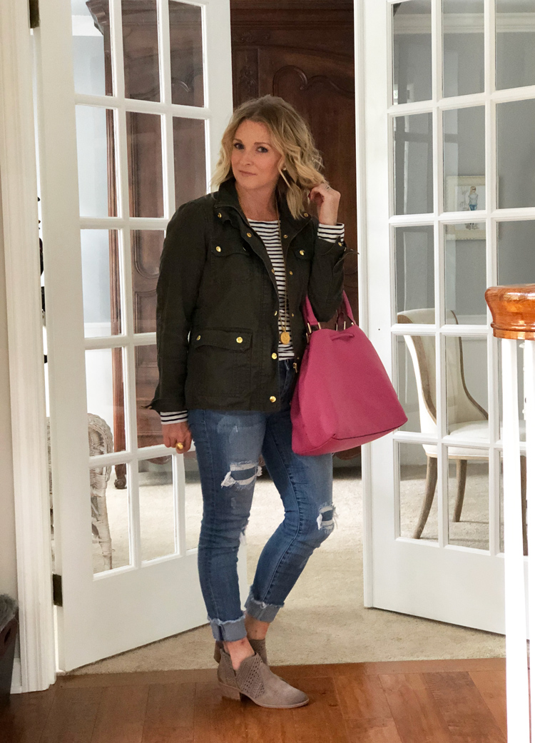 stripe tee with military jacket and distressed jeans with booties