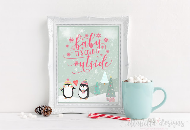 Baby It's Cold Outside Penguin Christmas Winter Wall Art Printable by Ellabella Designs
