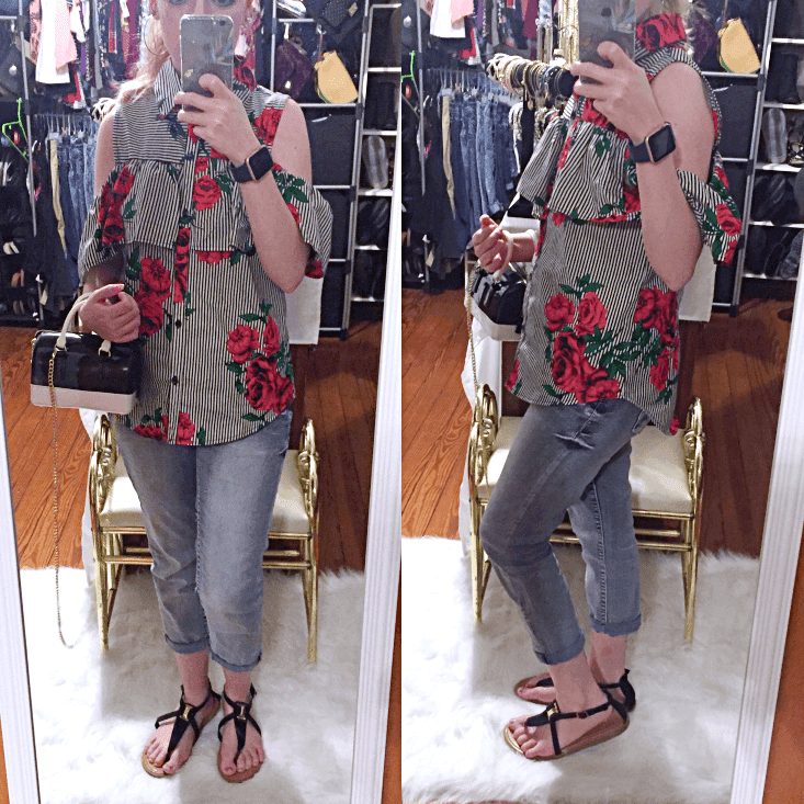 black and white striped rose print cold shoulder top outfit of the day summer 2018